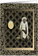Sign of the Monkey, Brown and Tan on Scalloped & Leaf Design card
