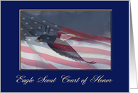 Eagle Scout Court of Honor Award, Eagle Flying with Flag, 2 card