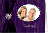 Wedding Invitation Photo Card, Purple Ribbon Look with Jewel on Moire card