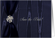 Wedding Save the Date, Blue Ribbon Look with Jewel on Moire card