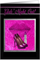 Bachelorette Party, Girls' Night Out, Pink High Heels, Lips & Lipstick card