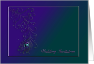 Peacock Themed Wedding Invitation, Peacock Feather, Teal and Purple card