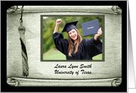 Tassel on Scroll Photo Card, Graduation Announcement, Green card
