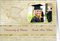 Cap and Diploma Photo Card, Graduation Announcement, Gold, Custom text card