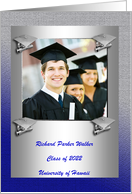 2020 Silver Caps and Diplomas, Graduation Annoucement, Blue card