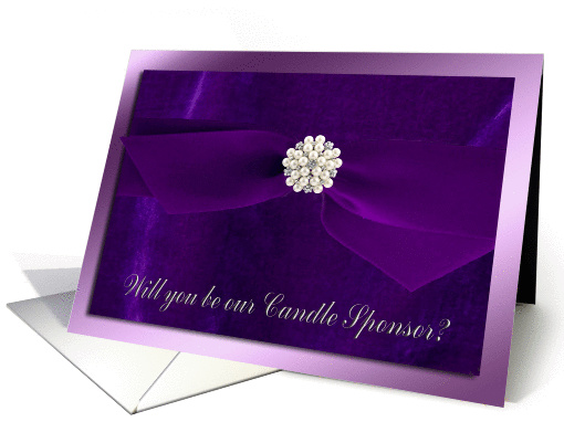 Purple Ribbon with Pearl Jewel, Candle Sponsor card (929469)