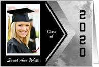 2020 Graduation Announcement Photo Card and Add Text, Black and Silver card