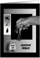 Thank You Janitor, Hand Holding Keys in Black and Silver, Add Text card