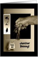 Thank You Janitor, Hand Holding Keys in Sepia, Add Text card
