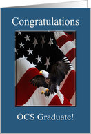 Officer Candidate School Graduation Congratulations, Eagle & Flag card