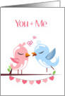 Pink and Blue Love Birds Valentine's Day Card