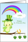 Personalize Name St. Patrick's Day Owl card