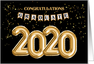2020 Gold Balloons for Graduate Congratulations card