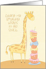 Birthday with Giraffe and Stack of Cakes card