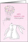 Customized Valentine with Rabbits and Hearts card