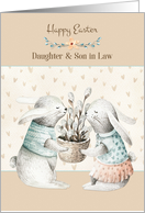 For Daughter and Son in Law Easter Bunny Pair card