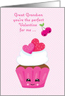 For Great Grandson Valentine with Pink Cupcake card