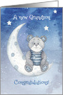 Congratulations New Grandson Bear Sitting on Moon with Stars card