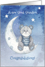 Congratulations New Great Grandson Bear Sitting on Moon with Stars card
