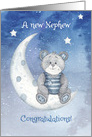 Congratulations New Nephew Bear Sitting on Moon with Stars card