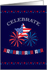 Presidents' Day Patriotic Bunting, Fireworks and Stars card