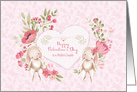 For a Perfect Couple on Valentine's Day, Bunnies and Pink Flowers card