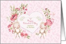 Customize Names for Valentine's Day, Bunnies and Pink Flowers card