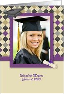 Modern Argyle Graduation Announcement card