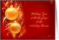 Gold Ornaments on Red, Holiday Greeting card