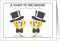 Grooms Champagne Toast, Gay Male Wedding Congratulations card
