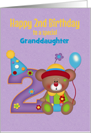Second Birthday, Granddaughter, Bear, Customizable Relation card