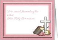 First Holy Communion Symbols, Congratulations Granddaughter card