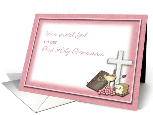 First Holy Communion Symbols, Congratulations Special Girl card