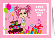 Cute Teen, Pink Hair, Cake, Happy Birthday BFF (Best Friend Forever) card