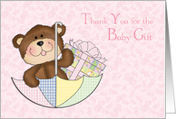 Baby Bear, Girl, Umbrella, Pink Hearts Thank you for the Baby Gift card