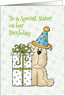 Birthday Dog, Gift, For Sister card