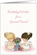 Cute Girls Tea Party, Birthday For Friend card