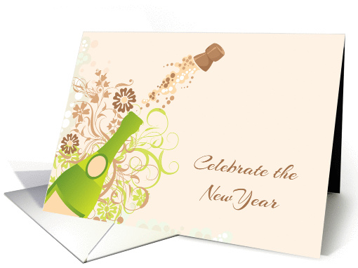 popping cork champagne bottle new years invitation card 1192728