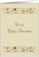 Baby Carriage Border, Baby Shower Invitation card