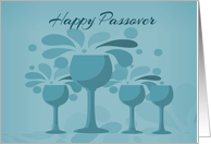 Four Wine Glasses, Happy Passover card