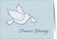 White Dove with Heart, Passover Blessings card