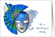 Ornate Blue Mask, Mardi Gras Party Invitation card