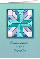 Cross Stained Glass, General Ordination Congratulations card