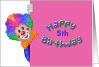 Funny Clown, Custom Age, 5th Birthday Greeting card