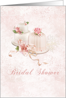 Blush Wedding Cakes with Roses, Bridal Shower Invitation card