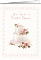 Blush Wedding Cake, Roses, Bridal Shower Invitation card