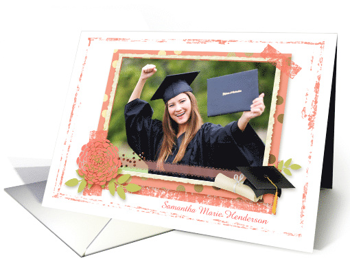 Coral Flower Scrapbook Style Polka Dots Graduation Custom Photo card