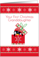 Penguin in Gift Box, First Christmas, Granddaughter card