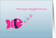 Pink Fish, Hearts, Valentine card