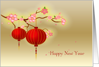 Red Paper Lanterns, Pink Blossoms, Chinese New Year card
